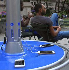 Anyone passing through New York City's Bryant Park can avoid the headache of searching for free outlets at coffee shops to juice up their phones, powering up at outdoor tables with built-in s…