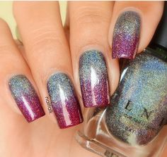 32 Christmas Nail Designs You'll Love CherryCherryBeauty.com  #nails #Christmasnails #Christmas #festive #festivenails #glitter #glitternails #purplenails #ombrenails #halfandhalf