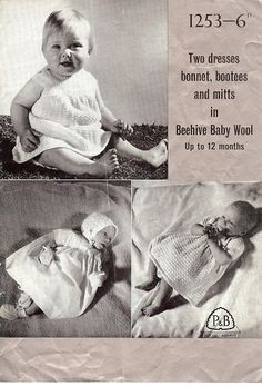 P&B Patons Vintage Knitting Pattern 1253, Baby's 2 Dresses, Bonnet, Bootees & Mittens