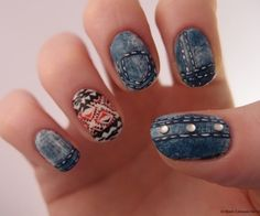 Nail Art Alert! Behold A Gorgeous Denim Manicure, Inspired by Mila Kunis on Glamour's August Cover: Girls in the Beauty Department: glamour.com