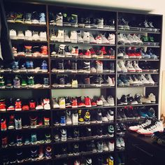 Kicks Ray Allen Spent Easter Weekend Organizing His Massive Air Jordan Collection Survey: Moms Feel Shoe Room, Shoe Wall, Shoe Closet, Jordans For Men, Air Jordans, Sneaker Storage, Shoe Storage, Celebrity Sneakers, Shoe Display