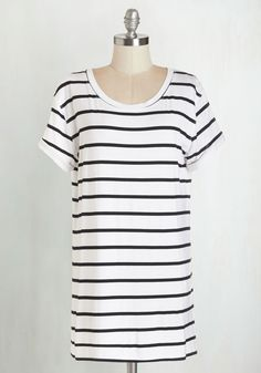 Simplicity on a Saturday Tunic in White Stripes - Jersey, Knit, White, Stripes, Casual, Short Sleeves, Summer, Variation, Basic, White, Short Sleeve, Black, Scoop, Best Seller, Spring, Long, Top Rated