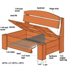Great for patio storage (Diagram and illustrated parts of this porch storage bench) Porch Storage Bench, Outdoor Storage, Diy Bench With Storage, Storage Area, Pool Storage, Storage Organization, Bedroom Storage Cabinets, Diy Bank, Bench With Back