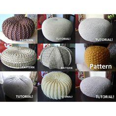 9 Knitted & Crochet Pouf Floor cushion Patterns Crochet Pattern Knit Pattern Pouf Ottoman Pattern Knitting Crochet pattern by isWoolish | Knitting Patterns | LoveKnitting