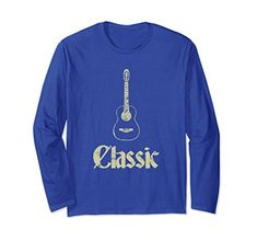 Vintage Retro Classic Classical Guitar Long Sleeve T-Shirt: Clothing. Cool worn look. Unique Vintage, Retro Vintage, Classical Guitar, Retro Look, Graphic Tee Shirts, Branded T Shirts, Fashion Brands, Long Sleeve Tees, Sleeves