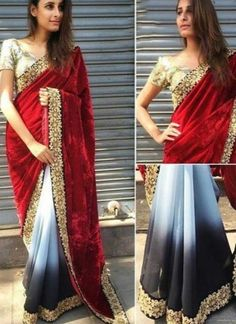 Red Grey Embroidery Lace Work Velvet Georgette Half Wedding Designer Sarees http://www.angelnx.com/Sarees/Wedding-Sarees