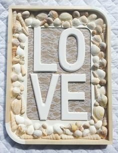 Rustic LOVE sign with shells, wedding gift, beach theme wedding gift, Valentine Day, engagement, first anniversary, new home, homewarming by DunnCrafting on Etsy https://www.etsy.com/uk/listing/217941732/rustic-love-sign-with-shells-wedding