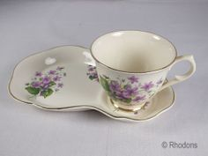 Vintage James Kent Old Foley Tennis Cup Plate Set- Violets - Chinarita