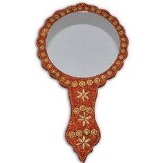 Orange Golden Trinkets Decorative Hand Mirror