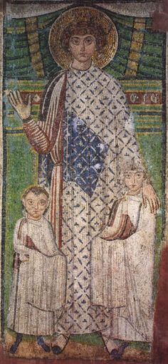 St. Demetrios with donors Mosaic - Church of St Demetrios in Thessaloniki - Byzantine med 7th cent