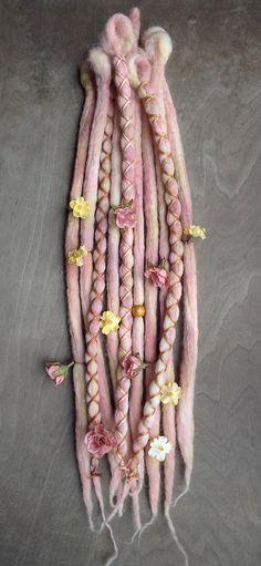 10 Springtime Flower Maiden Tie-Dye Wool Synthetic Clip-in