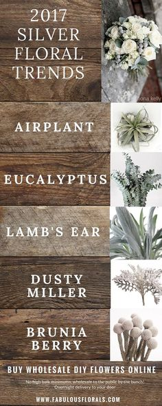 2017 silver & grey wedding flower trends! www.fabulousflorals.com The DIY…