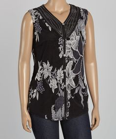 Love this Black & White Floral Embellished V-Neck Top - Plus on #zulily! #zulilyfinds