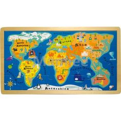 This wooden world map jigsaw puzzle is designed for children with just 24 pieces and bright illustrations. Perfect fr year olds Wacom Intuos, World Map Puzzle, World Map Design, Continents And Oceans, Wooden Jigsaw Puzzles, Framed Maps, 5 Year Olds, Puzzle Pieces, Educational Toys