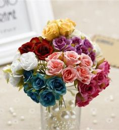 Cheap flower bouquet, Buy Quality artificial flower bouquet directly from China mini rose Suppliers: 2 cm Silk Gradient Mini Rose Artificial Flower Bouquet For Wedding Decoration DIY Wreath Cheap Flower Bouquets, Cheap Flowers, Flower Garlands, Diy Flowers, Wedding Bouquets, Wedding Flowers, Diy Garland, Garland Wedding, Diy Wedding Decorations