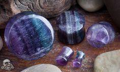 Blemished stone plugs (Rainbow fluorite)