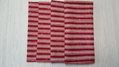 Christmas Cloth Napkins Batik Style Stripes Red White Dinner Lunch 16 Inch Set of 4