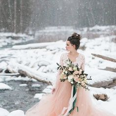 A lace bodice wedding dress with long sleeves and a pink flowy skirt to stand out Pink Winter Weddings, Winter Bride, Bodice Wedding Dress, Wedding Gowns, Lace Bodice, Champagne Dress, Winter Wonderland Wedding, Winter Wedding Inspiration, Lesbian Wedding