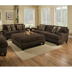 Maverick Espresso Sectional Furniture & More Superstore Tulsa, OK 3 Piece Living Room Set, Living Room Sets, Living Room Designs, Living Room Decor, Western Living Rooms, Formal Living Rooms, Brown Couch Decor, Sectional Furniture, Sectional Sofa