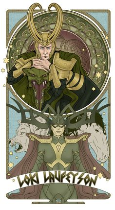 "Mucha Style - "" #Loki"" Illustration in style of ""Alphonse Mucha"" by ""Hezaa"" on @deviantART"