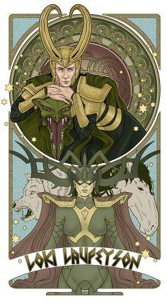 """Mucha Style - """" #Loki"""" Illustration in style of """"Alphonse Mucha"""" by """"Hezaa"""" on @deviantART"""