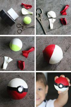 DIY Pokémon Go Ball und Basteln mit Gordon - birthday party - Pokemon Pokemon Themed Party, Pokemon Birthday, Diy Pokemon, Pokemon Pinata, One Balloon, Pikachu, Recipe For Mom, Party Time, Birthday Parties