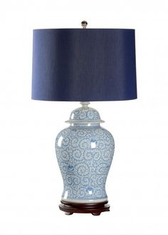Blue and White Porcelain Lamp with Blue Shade-ON BACKORDER UNTIL JUNE 2015