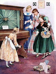 """Olha lá! Olhe lá!"" Mulherzinhas. Louisa May Alcott. Ilustração de Rene Cloke."