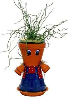 Flowerpot crafts on pinterest flower pot people clay for How to make clay pot people