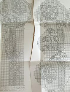 Mary Card filet crochet chart number 53 Rosebud -  original pattern. £35.00, via Etsy.