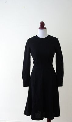 Vintage 1950s Black Wool Day Dress by RetroKittenVintage on Etsy, $35.00
