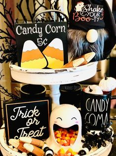 Seasonal Decor, Holiday Decor, Holiday Ideas, Galvanized Tiered Tray, Tray Styling, Hot Chocolate Bars, Tiered Stand, Coffee Signs, Halloween Magic