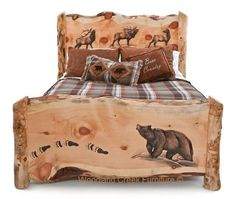 Carved Log Bed with Bear & Elk by Woodland Creek