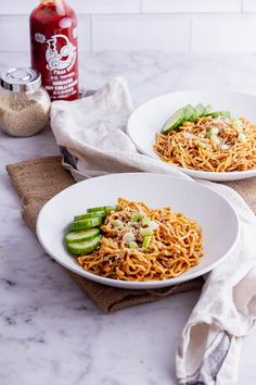These easy vegan cold peanut noodles make the most delicious summer lunch or dinner. Serve topped with cucumber slices for a refreshing meal. Vegetarian Recipes Easy, Delicious Vegan Recipes, Lunch Recipes, Easy Dinner Recipes, Summer Recipes, Tasty, Healthy Recipes, 15 Minute Meals