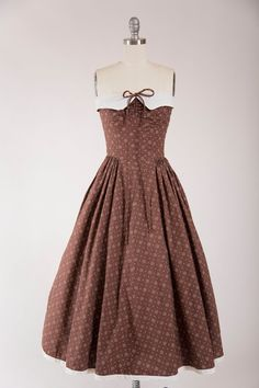 Vintage 1950s Dress No Lies Brown White Print by SimplyVintageCo