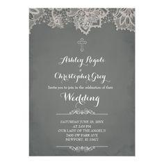 Catholic Wedding Invitation Christian Wedding Invitation   Charcoal Grey