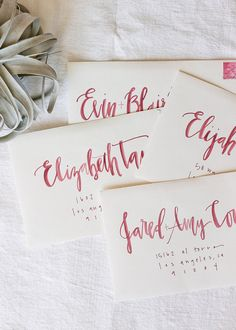 watercolor envelope calligraphy.