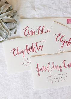 watercolor envelope calligraphy