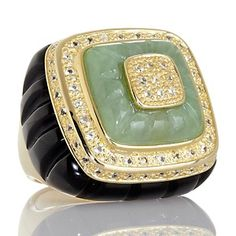Rarities: Fine Jewelry with Carol Brodie Jade, White Topaz and Black Onyx Vermeil Ring at HSN.com.