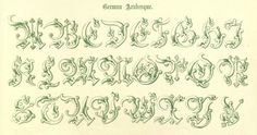 "Alphabet from the public domain ebook, ""The book of ornamental alphabets, ancient and mediaeval, from the eighth century. With numerals, including Gothic; church text, large and small; German arabesque; initials for illumination, monograms, crosses, &c., for the use of architectural and engineering draughtsmen, masons, decorative painters, lithographers, engravers, carvers .. (1914)"". Download here: https://archive.org/stream/bookofornamental00delarich"