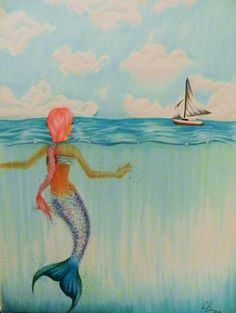 new mermaid drawing of mine! Fly Drawing, Painting & Drawing, Drawing Room, Mermaid Drawings, Mermaid Art, Cool Art, Awesome Art, Awesome Stuff, Merfolk
