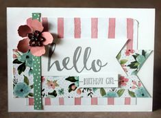 Occasions Saleabration Stampin Up. Hello stamp set, Birthday Bouquet DSP, card by Claire Daly SU Demo Melbourne Australia. Birthday Bouquet, Beautiful Handmade Cards, Stamping Up Cards, Scrapbooking, Paper Cards, Flower Cards, Banner, Homemade Cards, Making Ideas