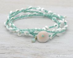 Turquoise with White Puka Shell Crocheted bracelet or anklet wrap by JonaraBluMauiJewelry, $25.00