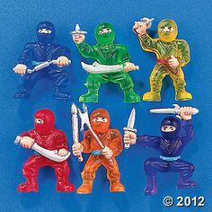 Ninja warriors action figures from Oriental Trading. $8 for 48. Good for party favors for karate/ninja birthday party.