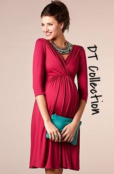 DT Collection Women's Maternity V-Neck Evening Dress Elegant Pregnancy. Knee length, pleated with 3/4 length sleeves. Perfect summer wear!