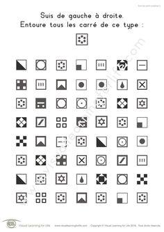 Dans les fiches de travail « Suivi de carré complexe » l'élève doit trouver tous les carrés identiques à ceux de l'exemple en haut de la page.