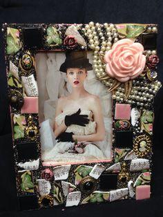 Vintage floral theme pink and black mosaic frame