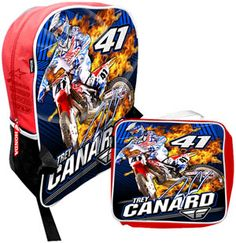 Check out our new Trey Canard Backpack and Lunchbox set! Features large print graphics of Trey and his Factory Honda 450, a hidden zipper allowing screen print graphics of sponsors, a main compartment handy for packing your school supplies or toys on your next vacation, side mesh pouches to hold a drink or additional toys and custom rubber Honda zipper pulls. The soft lunchbox is fully insulated and includes a mesh handle and matching graphics and Trey's autograph. Just $39.95