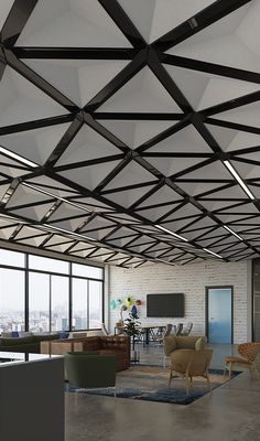 TriSoft™ ceiling system adds faceted dimensionality and quiet elegance to interiors. Its triangular faceted pyramid face is composed of Arktura's Soft Sound® acoustical material (100% PET plastic with up to 60% recycled content) with a metal substructure. Its angled design deflects and diffuses sound from all directions. Mix and match TriSoft's™ available modules and nodes as building blocks, to create any number of horizontal field or dynamic, angled undulating configurations.
