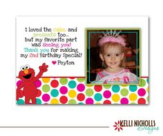 Elmo Thank You Card Red Yellow Green Blue Dots with Photo and ...